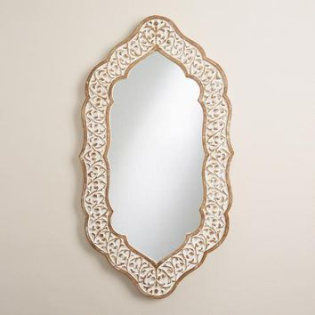 White Oval Avasa Scalloped Mirror