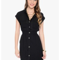 Black Babe Short Sleeve Button Up Dress   $10   Cheap Trendy Casual Dresses Chic Discount Fashion f