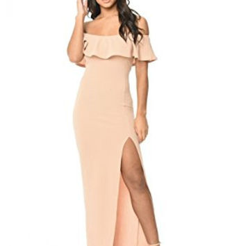 Blush Off Shoulder Ruffle High Split Maxi Dress