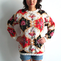 chunky floral sweater - 90s vintage tapestry jumper oversized knit pullover flower boho hippie rose pink red white black slouchy one size