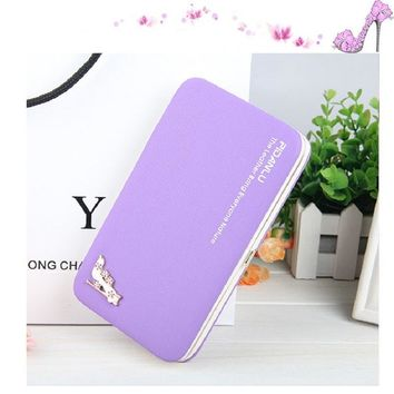 solid long Women Wallet metal frame animal pattern female Purse Coin card holder phone pocket Money Bag clutch with wrist strap