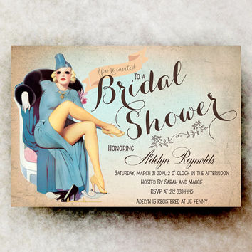 Pin Up Bridal Shower Invitation - Rustic Bridal Shower, Retro Bridal Shower, Modern Bridal Shower, Bachelorette party Invitation