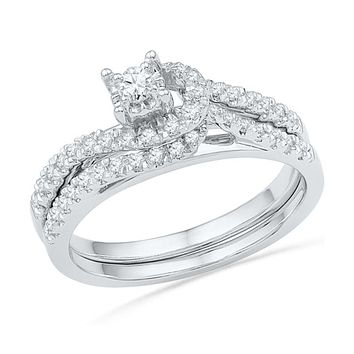 1/3 CT. T.W. Diamond Knot Bridal Engagement Ring Set in 14K White Gold