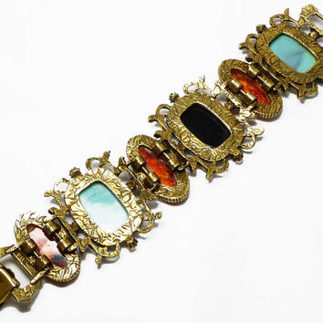 Vintage Cameo Bracelet - Revival Jewelry - Victorian Style - Molded Lucite Faux Gems