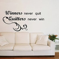 Wall Decal Vinyl Sticker Decals Art Home Decor Murals Quote Decal Winners never quit, Quitters never win Decals V925