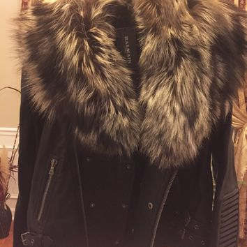 Balmain Coat 'Eu. 2XL' (Lambskin Leather w Silver Collar!!!) (Stunning!)