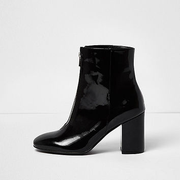 Black '60s patent zip front boots - boots - shoes / boots - women