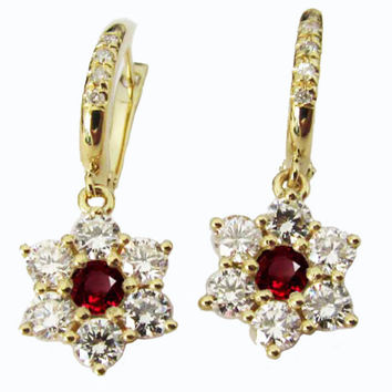 Ruby Earrings, Chandelier Earrings, Drop earrings, 18K Yellow Gold with F VVS Diamonds 1.83 carat in Flower Design Perfect Ladies Gift