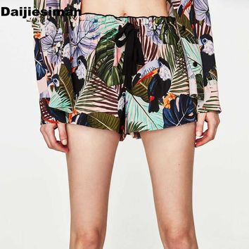 Vintage Colorful Tropical Parrot Floral Print Shorts Fashion Women Tied Bow High Elastic Waist Casual Short New Streetwear Femme