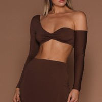 Tameena Crop Top - Chocolate [PRE-ORDER]