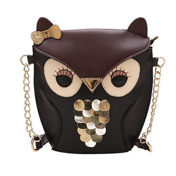 Fashion Owl Sequins Faux Leather Chain Shoulder CrossBody Messenger Bag