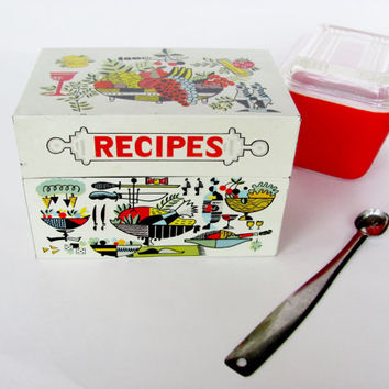 Vintage Recipe File Box Painted Metal Retro 1960s Kitchen Decor Georges Briard Style