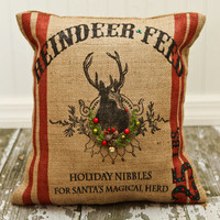 2012 Reindeer Feed Christmas Burlap Pillow Cover