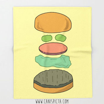 Burger Food Blanket Throw Fleece Hamburger Home Decor Cheeseburger Yellow Decorative Gift Unique Fandom Pop Art TV Quirky Room Couch Living
