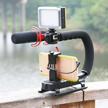 U-Grip Triple Shoe Mount Video Action Stabilizing Handle Grip Rig For Canon For Sony DSLR Camera For Phone Smartphone