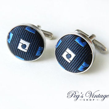 Vintage Cuff Links Navy Cloth Fabric Covered CuffLinks, Unisex Jewelry