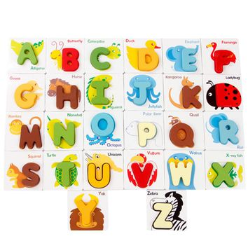 Wooden Puzzle Toys Animal Puzzle Baby Kids Preschool Wood ABC Alphabet Cards Cognitive Toys Kids  Animal Letters Puzzle Toy
