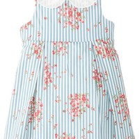 Laura Ashley London Baby Girls' Striped and Floral Lace Collar Dress