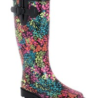 Capelli New York Shiny Floral Canvas Printed With Buckle Ladies Rain Boot Black Combo 8