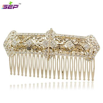 Rhinestone Crystals Palace Hair Comb Tiara Headband Women Party Wedding Bridal Hairpins Accessories Vintage XBY086