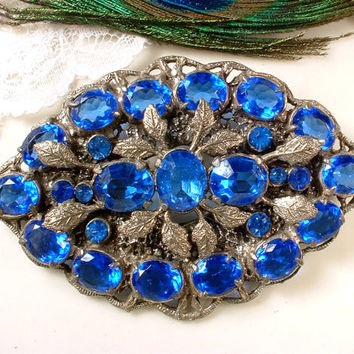 Brooch OR Hair Comb Vintage Large Victorian Sapphire Blue Czech Glass Rhinestone Antique Silver Filigree blue Bridal Sash Pin or Hairpiece