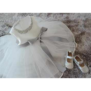 Newborn Baby Girl Dresses White Chiffon Dress For Wedding Party Diamonds Baby Christening Gowns For Infant 1 Year Birthday Gift