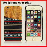 Retro fabric for iphone6 plus case for iphone 6s 6 plus Wood Plastic original phone cases back battery cover for iphone 6s plus