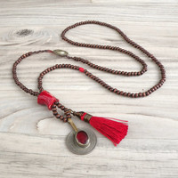 Long Mala Tassel Necklace, Dark Brown Wood Beads, Red Coral, Gypsy Coin Charm