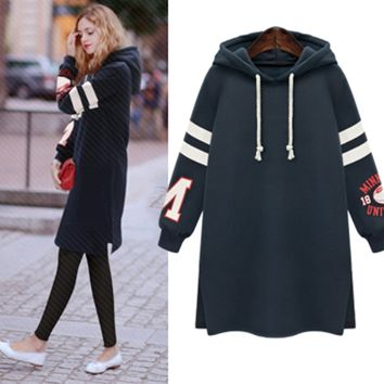 Printed Long-Sleeve Hoodie Sweatshirt Dress