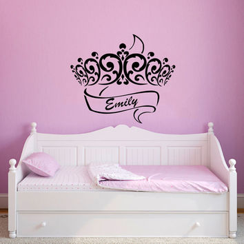 Wall Decal Name Girls Vinyl Sticker Personalized Custom Decals Art Home Decor Mural Wall Decals Nursery Baby Crown Princess Name Girls AN336