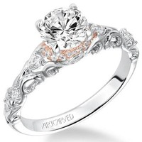 """Artcarved """"Ruby"""" Antique Style Two-Tone Diamond Engagement Ring"""