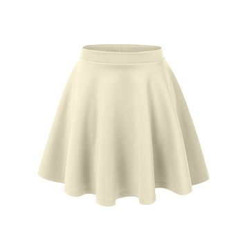 Basic Versatile Stretchy Flared Skater Skirt