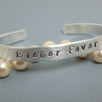 "Justin Bieber, inspired Jewelry. Hand stamped cuff Bracelet with "" Bieber Fever"""