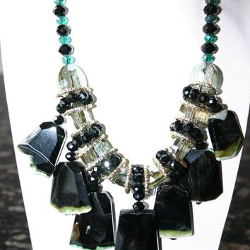 Handcrafted Green Crystal Chunky Agate Gemstone Necklace