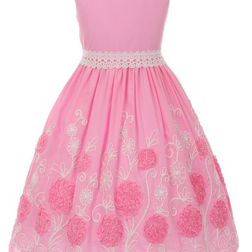 Girls Pink Cotton Easter Dress w. Embroidered & Ribbon Flowers 2T-12
