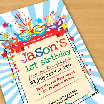 Kids birthday invitation, MASQUERADE Party Invitation, Birthday Invitation for any age 20 30 40 50 60 gathering Party  - card 183