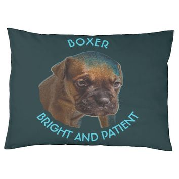 Blue Cute Boxer Puppy Large Dog Bed
