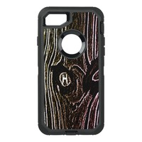 Rough Woodsy Monogrammed Woodgrain OtterBox Defender iPhone 8/7 Case