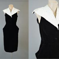 50s Black velvet Dress with White Sequin Collar, 33 bust, Fitted XS Vintage 1950s Evening Cocktail Dress