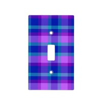 Turquoise Navy Blue Purple Lavender Plaid Girl Light Switch Cover