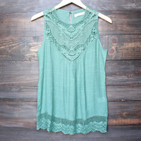 gypsy crochet lace gauzy sleeveless tank top in sage