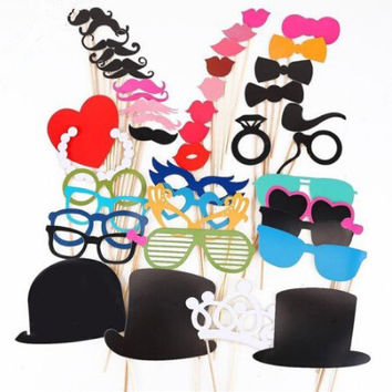 6 Style Funny Photo Booth Props Hat Mustache On A Stick Wedding Birthday Party Favor Parties Accessories Halloween