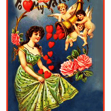 Victorian Valentine Cherubs Throwing Hearts  Counted Cross Stitch or Counted Needlepoint Pattern
