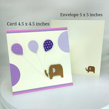Expecting, Baby Shower Card, Newborn Card, Baby Girl, Baby Boy, Birthday Card, Baby Birthday Card, Elephant, Greeting Card, Purple