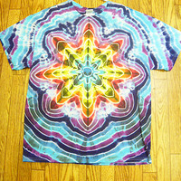 #XL38 Tie Dye Size XL Cosmic Star Short Sleeve Tie Dye Shirt handmade