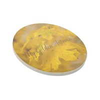 Yellow autumn maple leaves. Add you text or name. Coaster