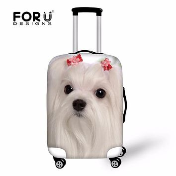 """FORUDESIGNS Cute 3D Maltese Dog Print Travel Accessories Thick Luggage Protective Cover Apply to 18-30""""Case Dust Rain Bag Covers"""