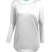 LE3NO Womens Lightweight Dolman 3/4 Sleeve Tunic Top (CLEARANCE)