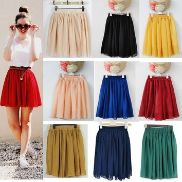 Woman's High Waist Pleated Double Layer Chiffon Short Mini Skirts Dress (One Size) = 1946159876