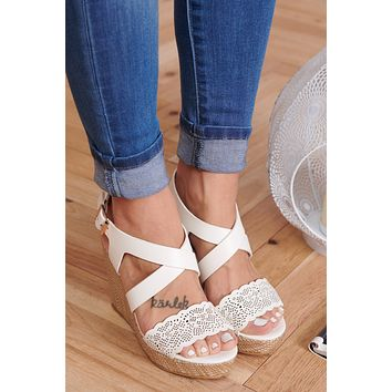 Dainty Lady Sandal Wedges (White)